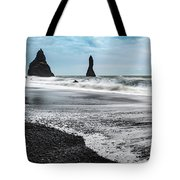 The Dramatic Black Sand Beach Of Reynisfjara. Tote Bag