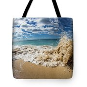 View Of Surf On The Beach, Hawaii, Usa Tote Bag
