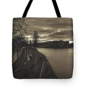 Walking Along The Seine At Sunset Tote Bag