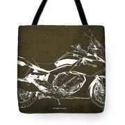 2016 Bmw K1600gt Blueprint, Original Motorcyclkes Blueprints, Bmw Artworks, Vintage Brown Background Tote Bag