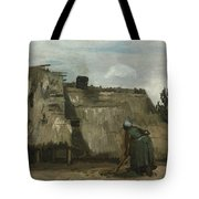 A Peasant Woman Digging In Front Of Her Cottage Tote Bag
