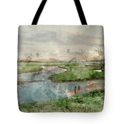 Digital Watercolor Painting Of Beautiful Dawn Landscape Over Eng Tote Bag