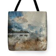 Digital Watercolor Painting Of Beautiful Summer Sunrise Landscap Tote Bag