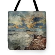 Digital Watercolor Painting Of Sunrise Over Rocky Coastline On M Tote Bag