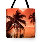 Palm Trees At Sunset, Moorea, Tahiti Tote Bag