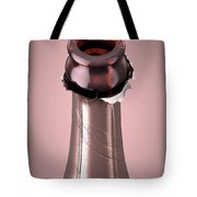 Pink Champagne Bottle Open Neck Tote Bag