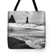 The Dramatic Black Sand Beach Of Reynisfjara. Tote Bag