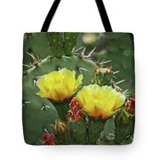 Yellow Prickly Pear Flowers Tote Bag