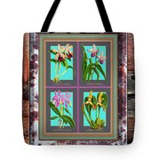 Antique Orchids Quatro On Rusted Metal And Weathered Wood Plank Tote Bag