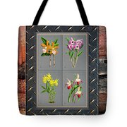 Orchids Antique Quadro Weathered Plank Rusty Metal Tote Bag