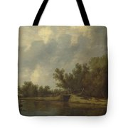 A River Landscape With Fishermen  Tote Bag