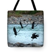 4 Crows At The River Tote Bag by Mary Lee Dereske