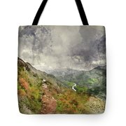 Digital Watercolor Painting Of Landscape Image Of View From Prec Tote Bag
