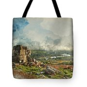 Digital Watercolor Painting Of Stunning Autumn Sunset Landscape  Tote Bag