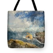 Digital Watercolor Painting Of Stunning Sunrise Landscape Image  Tote Bag