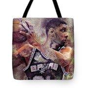 Portrait Of Tim Duncan Tote Bag