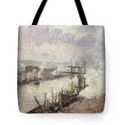 Steamboats In The Port Of Rouen  Tote Bag