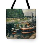 Barges At Pontoise  Tote Bag