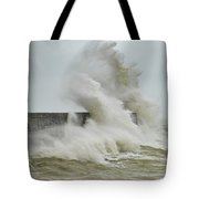 Stunning Dangerous High Waves Crashing Over Harbor Wall During W Tote Bag