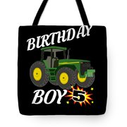 5 Years Old Birthday Design Green Tractor Gifdesign  Tote Bag