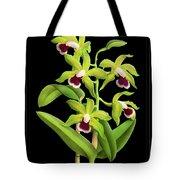Vintage Orchid Print On Black Paperboard Tote Bag