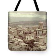 Beautiful Medieval Spanish Village In Sepia Tone Tote Bag
