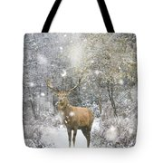 Beautiful Red Deer Stag In Snow Covered Festive Season Winter Fo Tote Bag