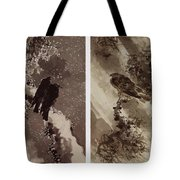 A Black Hawk And Two Crows Tote Bag