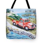 A Cape Cod Christmas Tote Bag by Monique Faella
