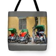 A Cyclo Driver Takes A Nap, In Hoi An, Vietnam. Tote Bag