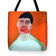 A Man With An Orange Background Tote Bag