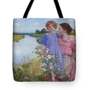 A Mother And Child By A River With Wild Roses 1919 Tote Bag