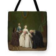 A Nobleman Kissing A Lady S Hand  Tote Bag
