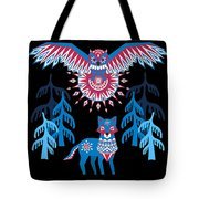 A Northern Folk Winter Woods Midnight Sun Tote Bag