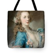 A Young Lady With A Parrot Tote Bag