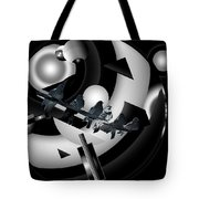 Abstract Birds On A Wire Black N White 1of3 Tote Bag
