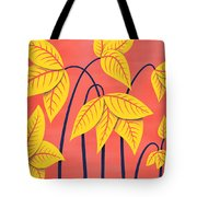 Abstract Flowers Geometric Art In Vibrant Coral And Yellow  Tote Bag