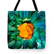 Abstract Gerbera Ink Flower Tote Bag