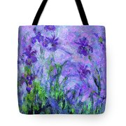 Abstract Realism Field Of Iris In Spring Tote Bag by Isabella Howard