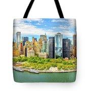 Aerial Panorama Of Downtown New York Skyline Tote Bag