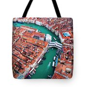 Aerial View Of Grand Canal And Rialto Bridge, Venice, Italy Tote Bag