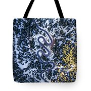 Aerial View Of Winding Mountain Road Through Forest Tote Bag