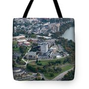 Aerials Of Evansdale Campus With Engineering Buildings And Cac And Monongahela River  Tote Bag by Dan Friend
