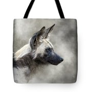 African Wild Dog In The Dust Tote Bag