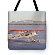 Airplane In The Harbour Tote Bag