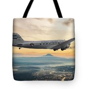 Alaska Airlines Dc-3 Over Seattle Tote Bag