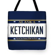 Alaska State License Plate Mockup With The City Ketchikan Tote Bag