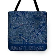 Amsterdam Blueprint City Map Tote Bag by Helge