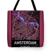 Amsterdam City Map Tote Bag by Helge