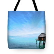 An Exclusive Resort Bungalow Over A Calm Tropical Sea. Tote Bag